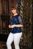 Navy Blue Floral Elbow Sleeve Evening Dressy Top - Women Plus Size - Pineapple Clothing