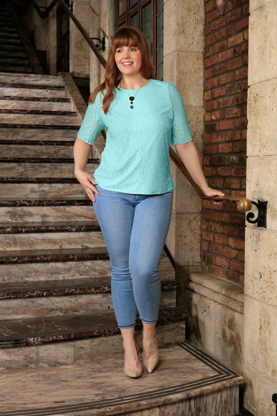 Mint Blue Stretchy Lace Half Sleeve Chic Spring Top - Women Plus Size