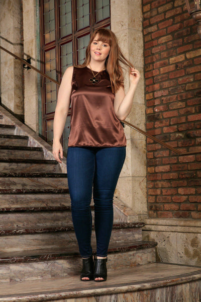 Chocolate Brown Sleeveless Chic Evening Dressy Sexy Top - Women Plus Size