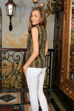 Sage Green Animal Print Sleeveless Casual Trendy Dressy Top - Women - Pineapple Clothing