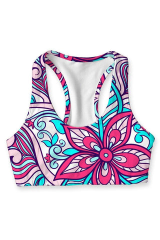 Under The Sea Stella Printed Seamless Racerback Sport Yoga Bra - Women