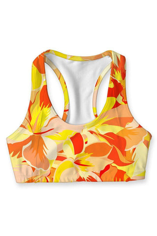 Flaming Hibiscus Stella Seamless Racerback Sport Yoga Bra - Women - Pineapple Clothing