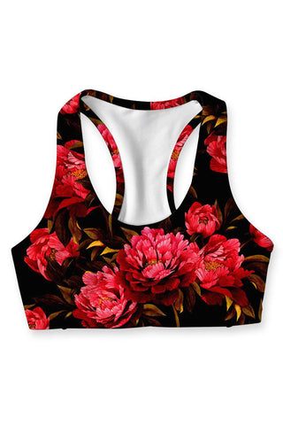True Passion Stella Red & Black Floral Sports Yoga Bra - Women - Pineapple Clothing