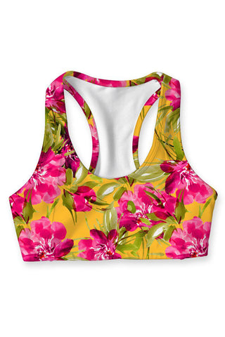 Indian Summer Stella Floral Racerback Sports Yoga Bra - Women - Pineapple Clothing