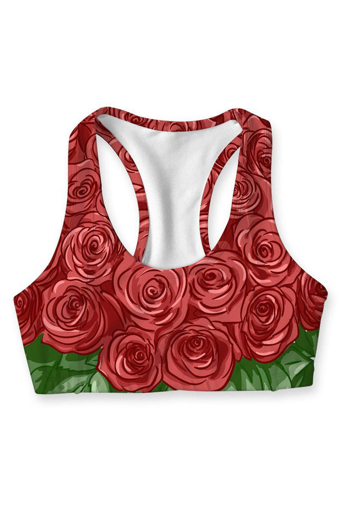 Love & Fame Stella Red Floral Racerback Sports Yoga Bra - Women - Pineapple Clothing