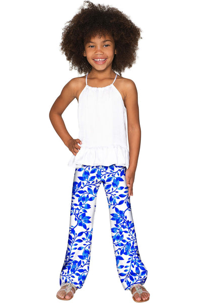 Whimsy Amelia Blue & White Knit Cute Palazzo Pant - Girls