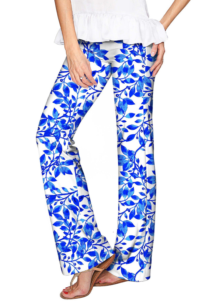 Whimsy Amelia Blue & White Print Palazzo Pant - Women - Pineapple Clothing
