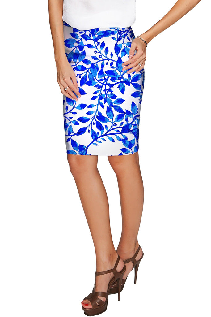 Whimsy Carol Blue & White Print Stretch Pencil Skirt - Women - Pineapple Clothing