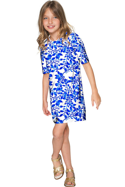 Whimsy Grace White & Blue Printed Party Shift Dress - Girls