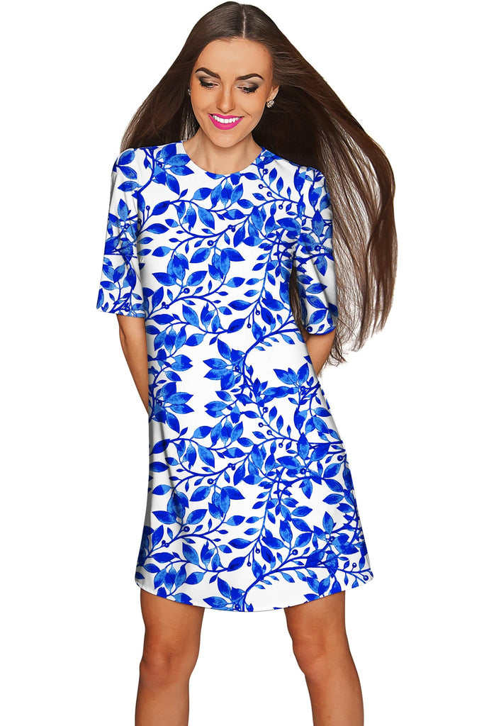 Whimsy Grace White & Blue Print Party Shift Dress - Women - Pineapple Clothing