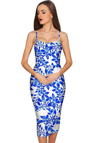 Whimsy Olivia Blue Print Summer Party Midi Dress - Women - Pineapple Clothing