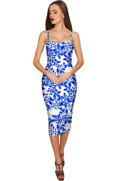 Whimsy Olivia Blue Print Summer Party Midi Dress - Women
