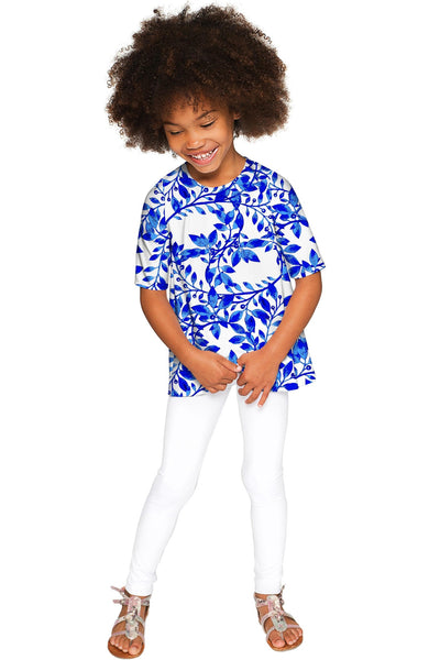 Whimsy Sophia Blue & White Print Sleeved Dressy Top - Girls