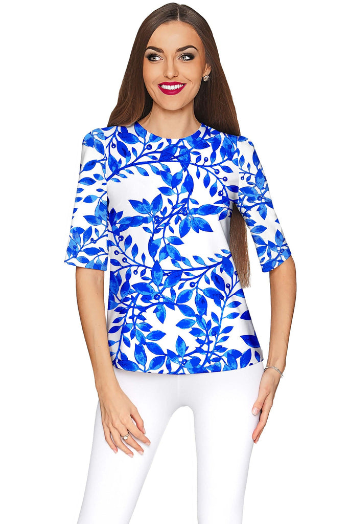 Whimsy Sophia White Blue Print Sleeved Party Top - Women - Pineapple Clothing