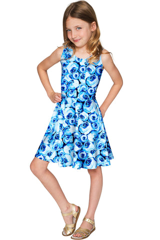 Whisper Mia Cute Blue Floral Fit & Flare Dress - Girls - Pineapple Clothing