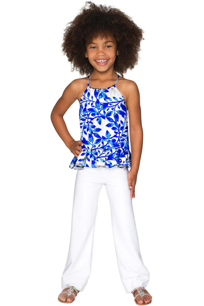 White Amelia Eco-Friendly Stretch Knit Palazzo Pant - Girls
