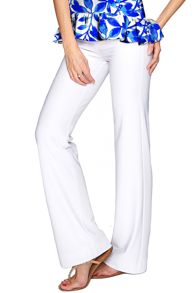 White Amelia Summer Stretch Pull-On Palazzo Pant - Women - Pineapple Clothing
