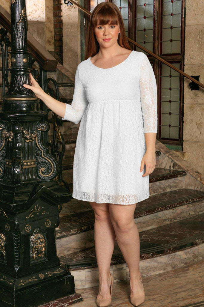 White Stretchy Lace Empire Waist 3/4 Sleeve Curvy Dress Plus Size ...