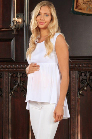 White Stretchy Empire Waist Sleeveless High-Low Top - Women Maternity - Pineapple Clothing