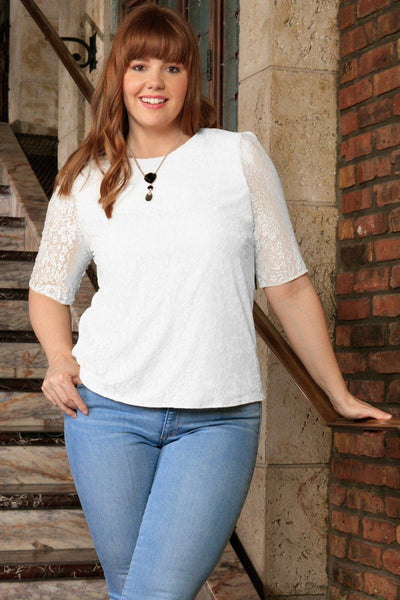 White Stretchy Lace Elbow Sleeve Dressy Party Top - Women Plus Size