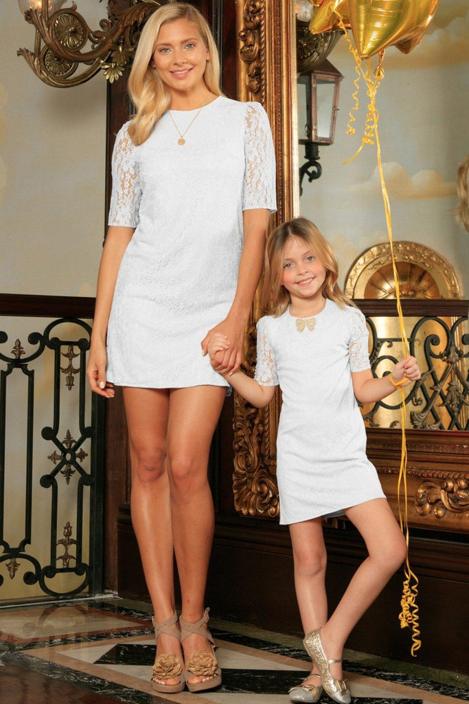 White Stretchy Lace Elbow 3/4 Sleeve Shift Party Mother Daughter Dress - Pineapple Clothing