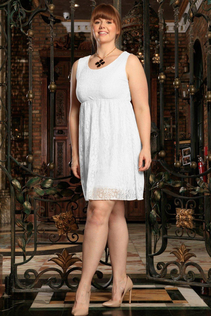 White Stretchy Lace Empire Spring Sleeveless Sexy Dress - Women Plus Size