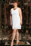 White Stretchy Lace Empire Spring Sleeveless Dress - Women Plus Size