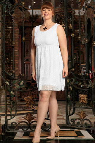 White Stretchy Lace Summer Sleeveless Sexy Curvy Boho Dress Plus Size - Pineapple Clothing