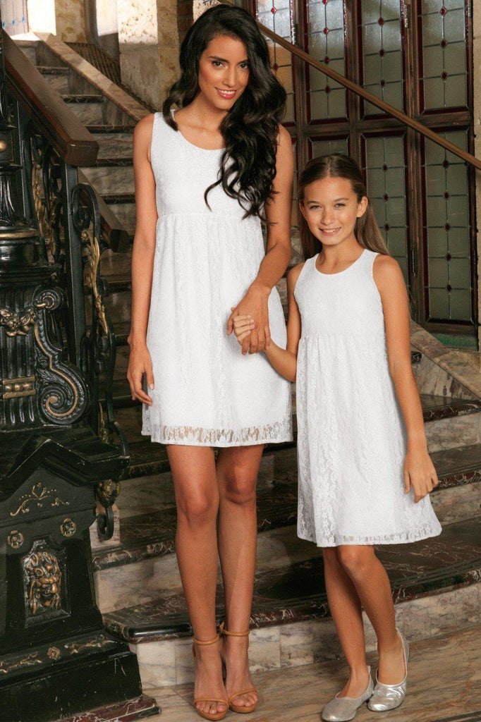 White Stretchy Lace Empire Waist Sleeveless Day Mommy and Me Dress