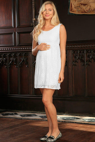 White Stretchy Lace Empire Waist Sleeveless Dress - Women Maternity - Pineapple Clothing