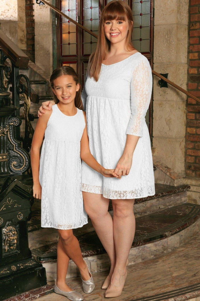 5a0bd9ab683 White Stretchy Lace Empire Waist Summer Mommy   Me Dress Plus Size -  Pineapple Clothing
