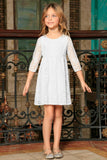 White Stretchy Lace Empire Waist Three-Quarter Sleeve Dress - Girls