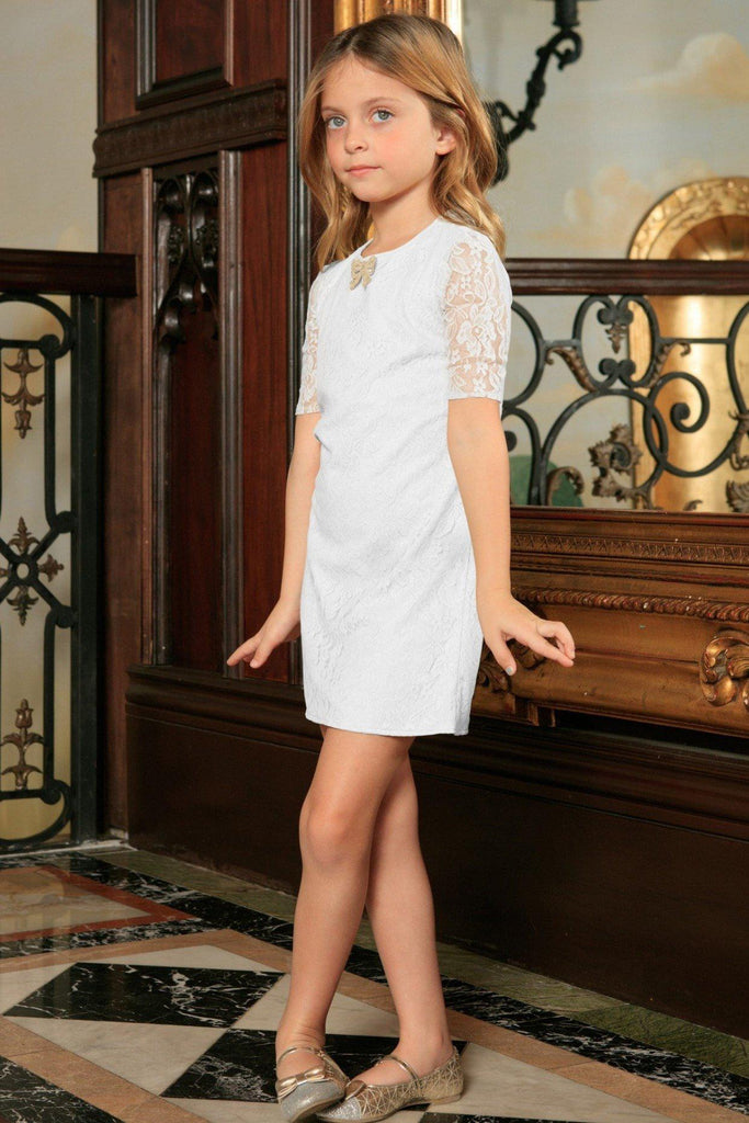 c81502ca96 White Stretchy Lace Sleeved Holiday Fancy Party Shift Dress - Girls - Pineapple  Clothing
