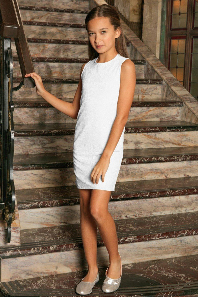 3a7a39239 White Stretchy Lace Sleeveless Summer Fancy Party Shift Dress ...