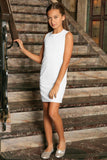 White Stretchy Lace Sleeveless Spring Fancy Party Shift Dress - Girls