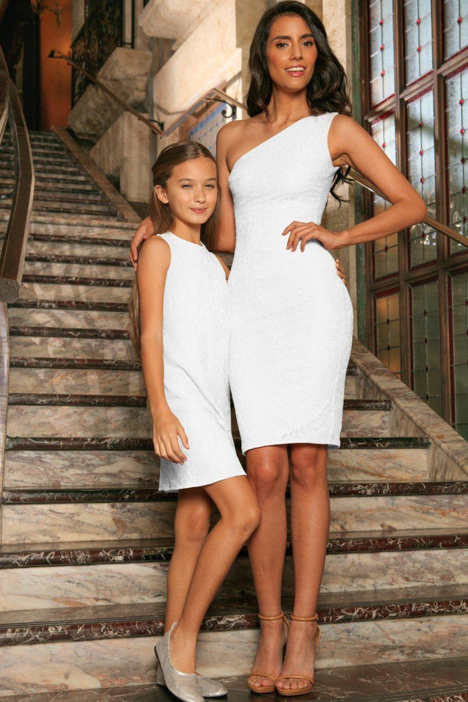 bcdb996534 White Stretchy Lace Sleeveless Stunning Fancy Mother Daughter Dress -  Pineapple Clothing