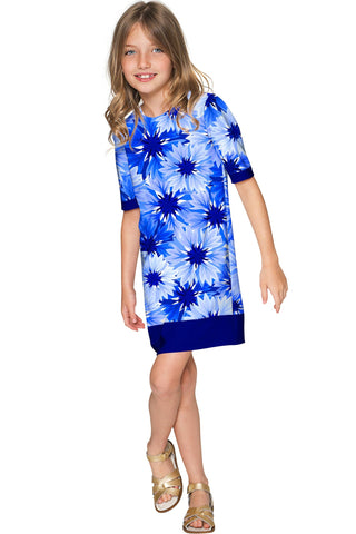 Wild Bloom Grace Blue Floral Pattern Cute Shift Dress - Girls - Pineapple Clothing