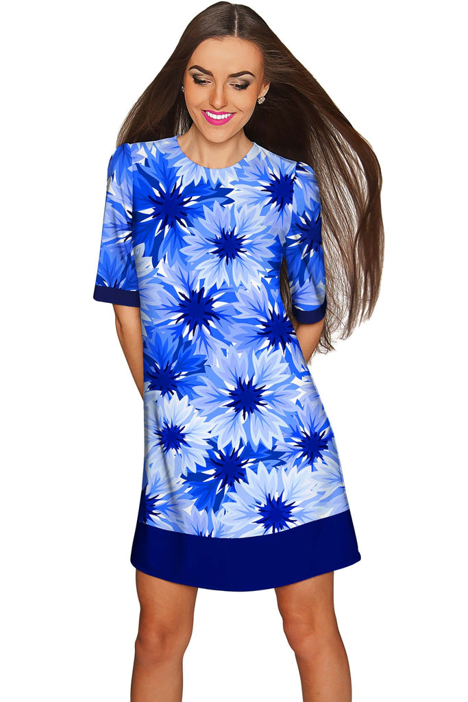 Wild Bloom Grace Blue Floral Elegant Shift Dress - Women - Pineapple Clothing