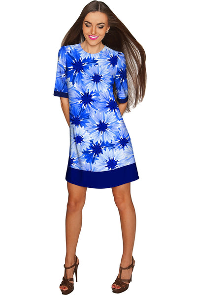 Wild Bloom Grace Blue Floral Elegant Shift Dress - Women