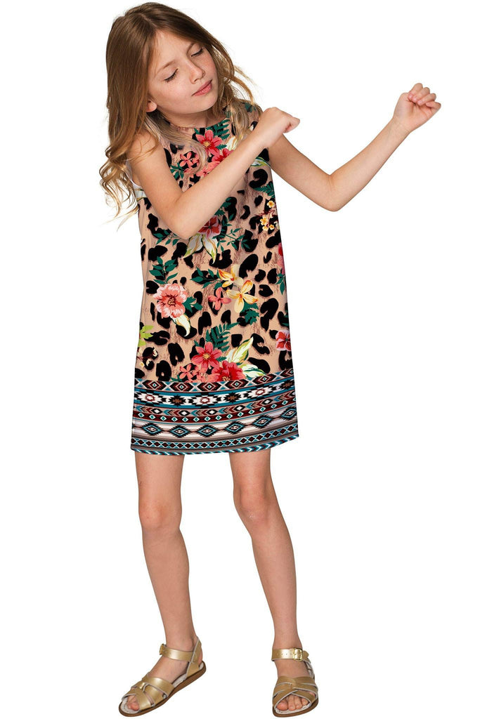 Wild & Free Adele Trendy Leopard Print Shift Dress - Girls - Pineapple Clothing