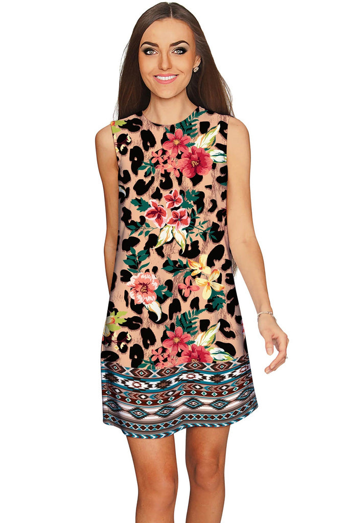 Wild & Free Adele Leopard Print Mini Shift Dress - Women - Pineapple Clothing