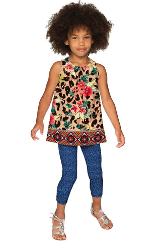 Wild & Free Emily Leopard Print Sleeveless Dressy Top - Girls - Pineapple Clothing