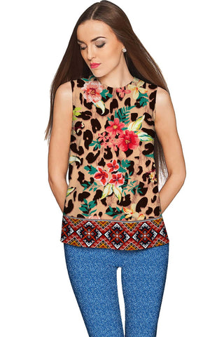 Wild & Free Emily Floral Leopard Print Dressy Top - Women - Pineapple Clothing