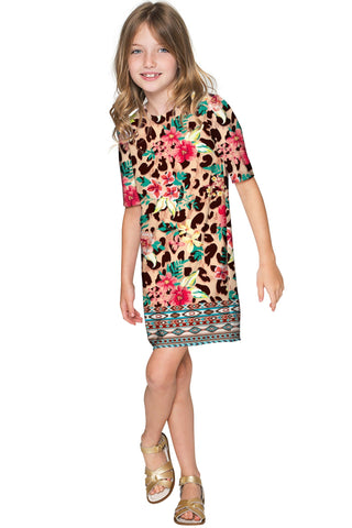 Wild & Free Grace Leopard Print Fall Chic Shift Dress - Girls - Pineapple Clothing