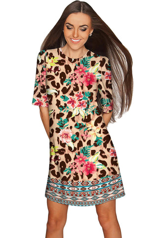 Wild & Free Grace Floral Leopard Print Shift Dress - Women - Pineapple Clothing