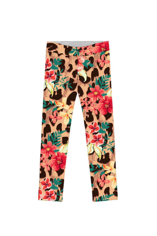 Wild & Free Lucy Cute Floral Leopard Print Leggings - Girls - Pineapple Clothing