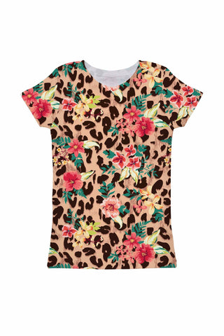 Wild & Free Zoe Floral Leopard Print Cute Designer Tee - Girls - Pineapple Clothing