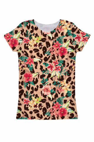 Wild & Free Zoe Floral Leopard Print Designer Tee - Women - Pineapple Clothing