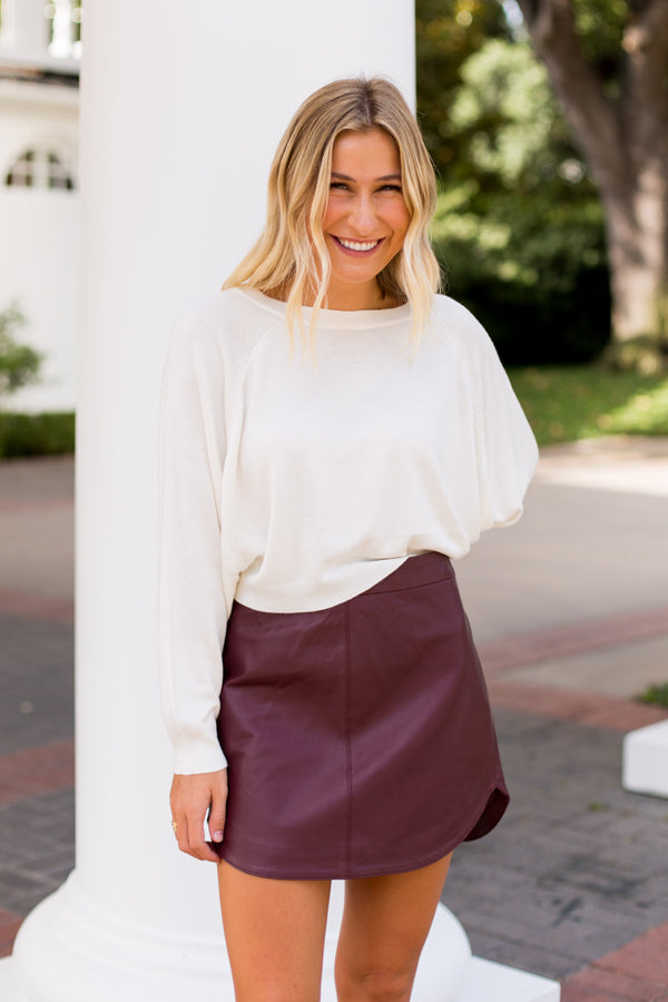 BB Dakota Leather Skirt- Bordeaux