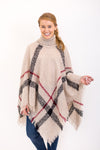 Park City Poncho - Taupe Plaid